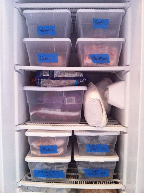 Freezer organization tools: plastic bins + painter's tape
